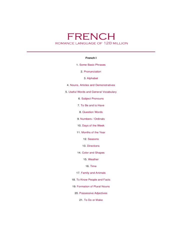 standard french learning template free download