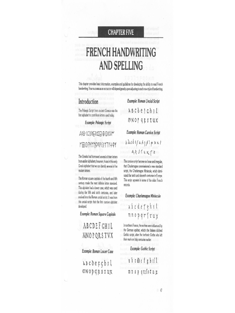 French Handwriting and Spelling