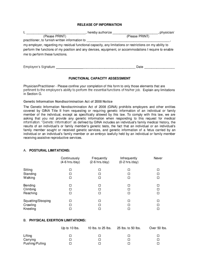 functional capacity evaluation form