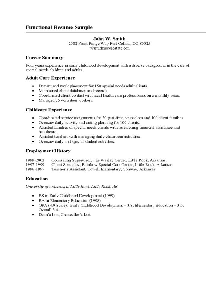 Basic Functional Resume Sample