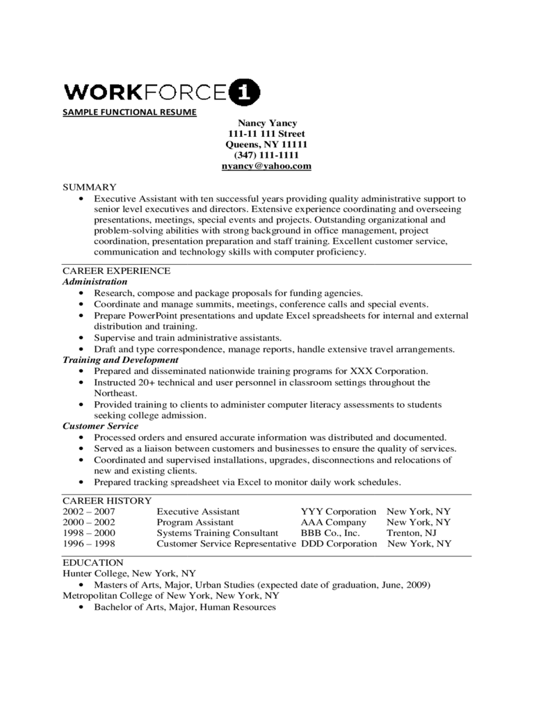 Simple Functional Resume Template
