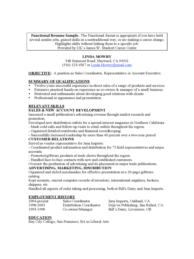 Functional Resume Template Free Download