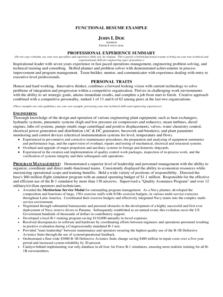functional resume example free download