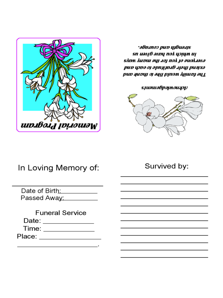 Rrintble Memorial Cards with White Flowers