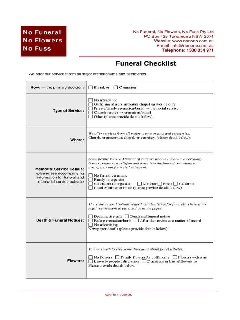 This is an image of Impeccable Printable Funeral Planning Checklist