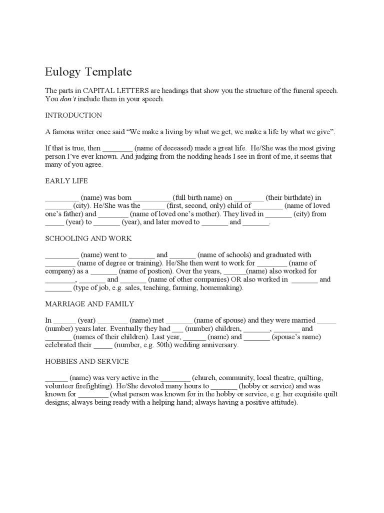 Funeral eulogy template 2 free templates in pdf word for Eulogy template for father