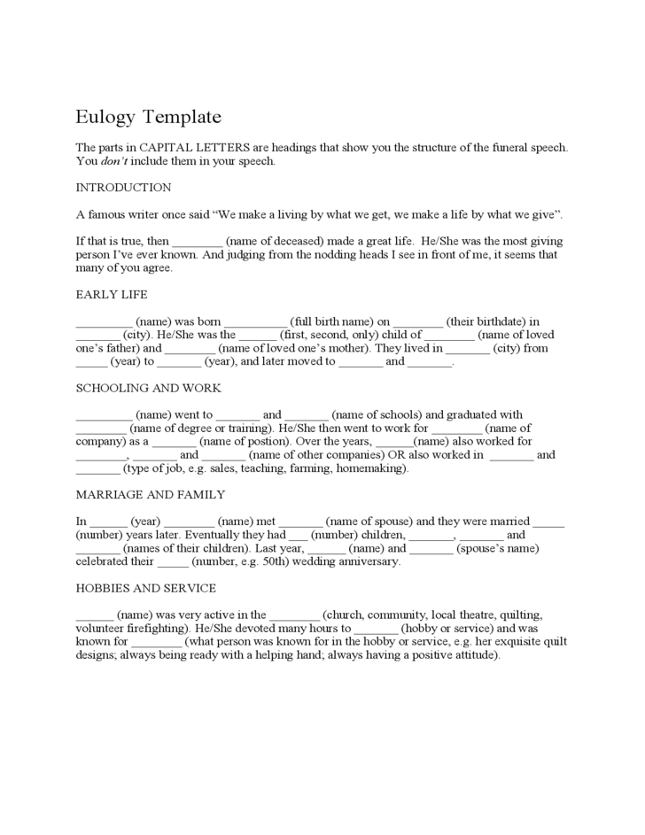 eulogy template for a friend eulogy template free download