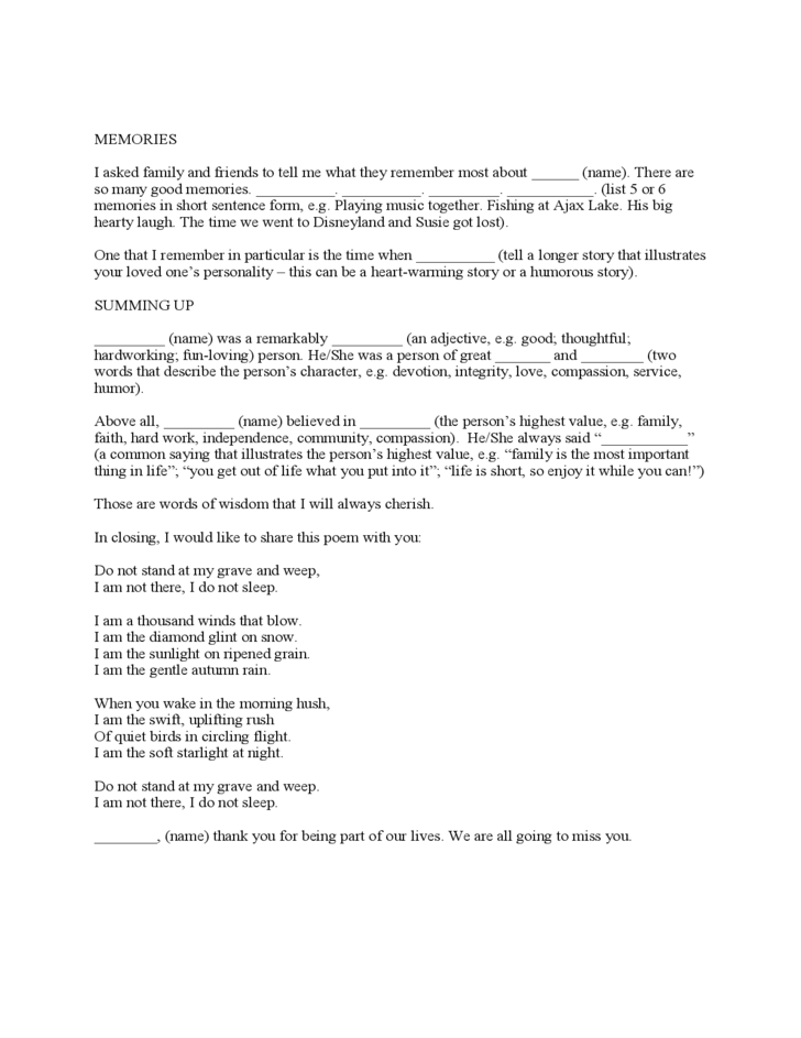 Eulogy template free download for Eulogy template for father