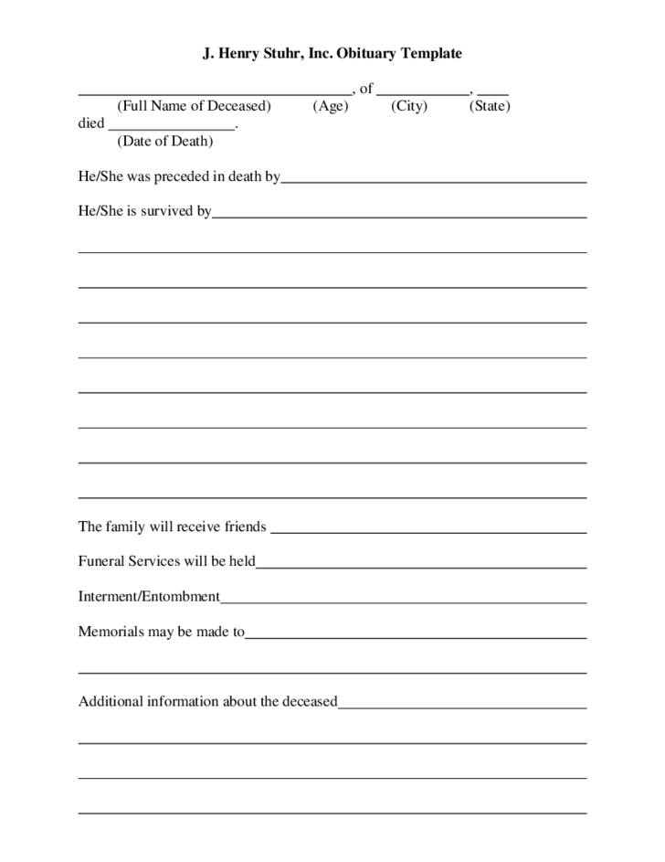 J henry stuhr inc obituary template free download for Full power of attorney template