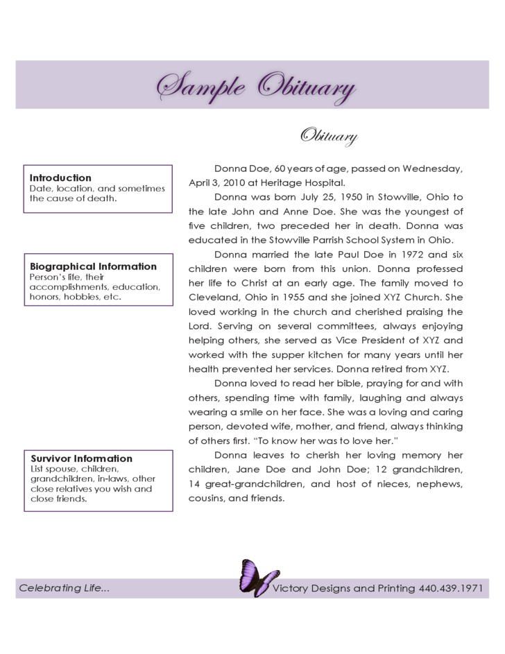 Sample obituary free download for Fake obituary template
