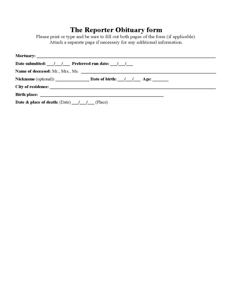 The Reporter Obituary form