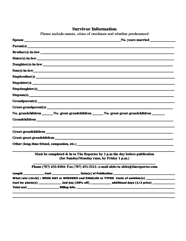 The reporter obituary form free download for Obituary guide template