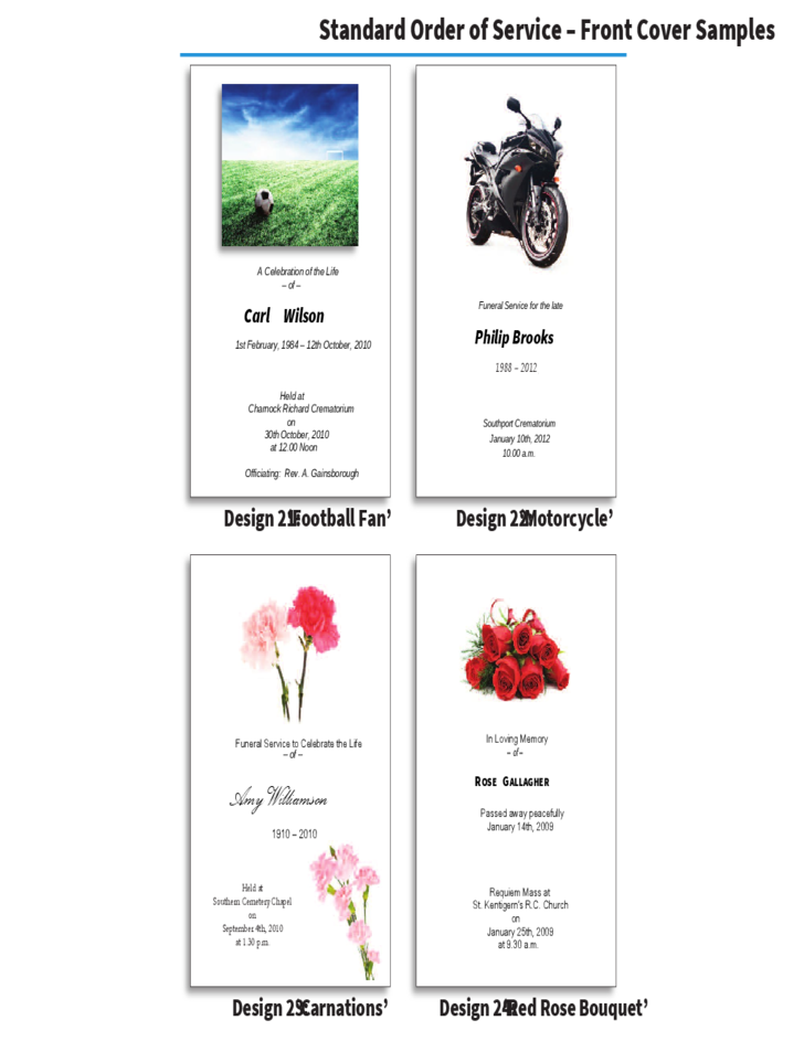 Custom Card Template funeral prayer cards templates : Order of Service Brochure - In-Memoriam Cards Free Download
