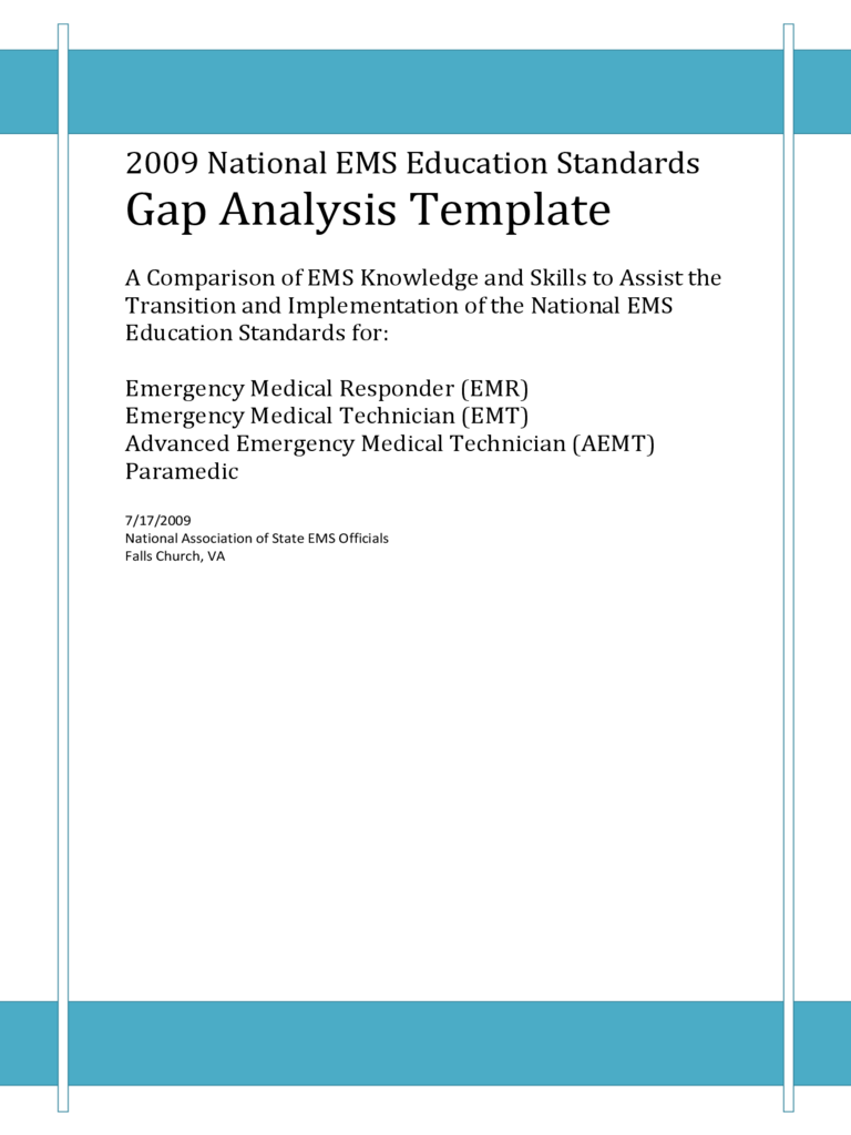 2009 National EMS Education Standards Gap Analysis Template Free Download