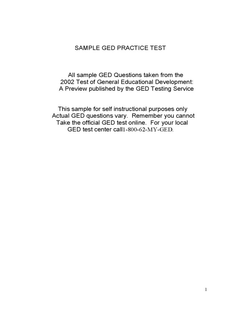 Sample GED Practice Test