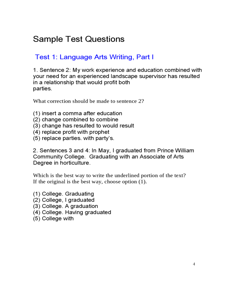 sample ged practice test free download