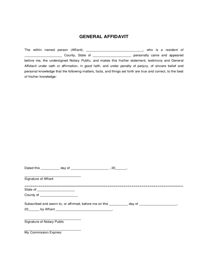 1 General Affidavit Form Sample  General Affidavit Sample