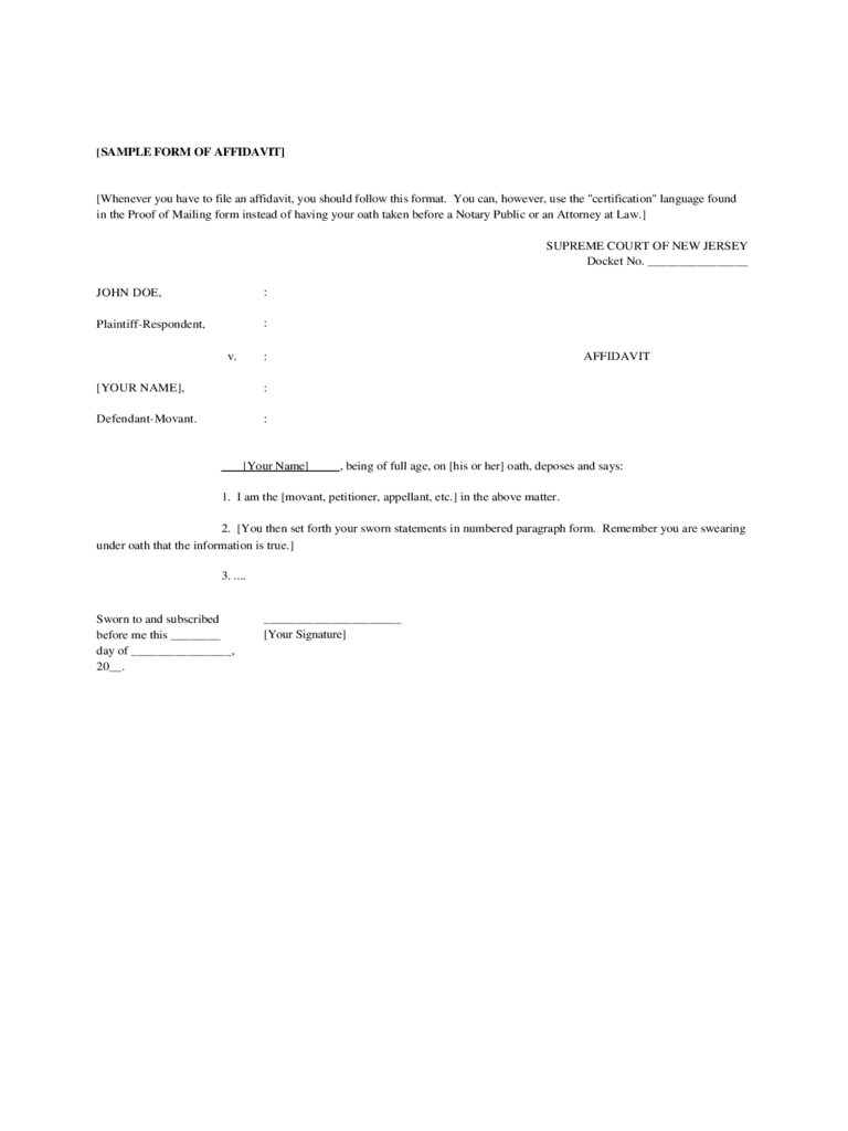 Sample Form of Affidavit - New Jersey