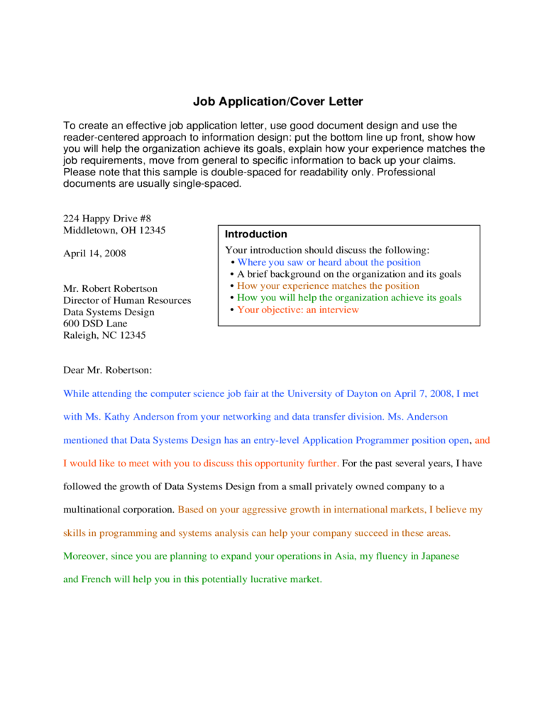 Application Letter Sample Form