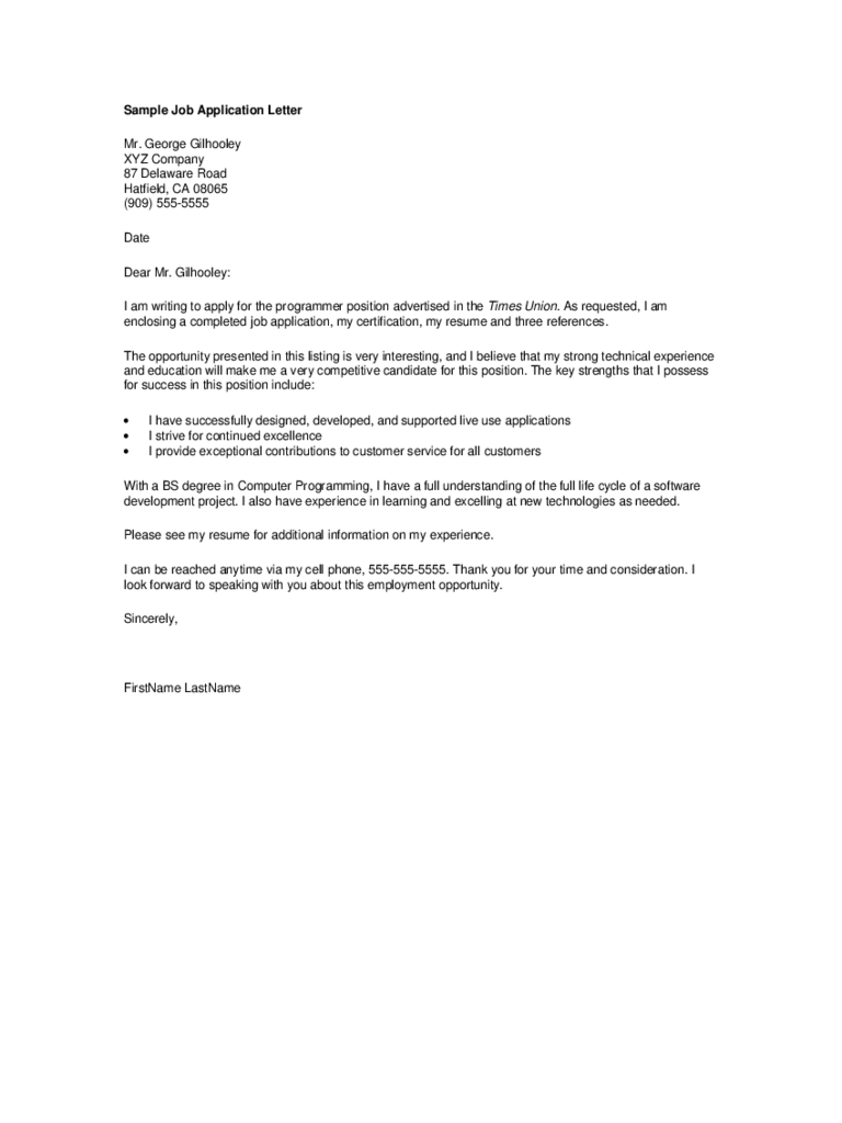 General Application Letter Template 2 Free Templates In