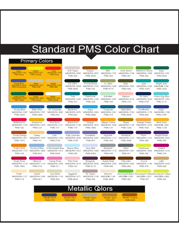 1 General Standard PMS Color Chart