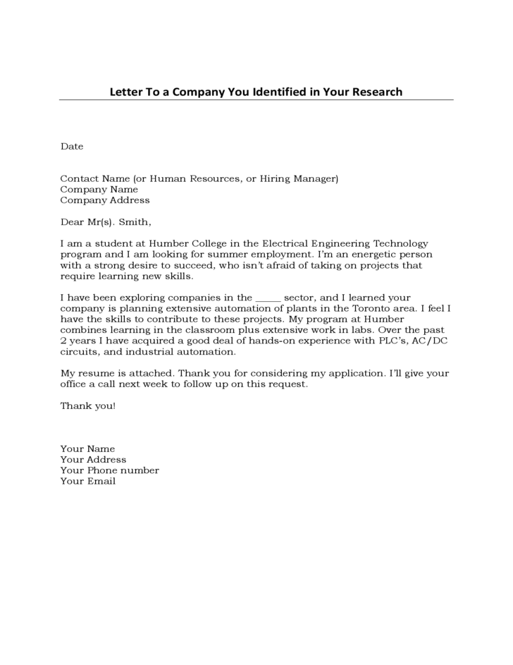 Sample General Cover Letter Template Free Download
