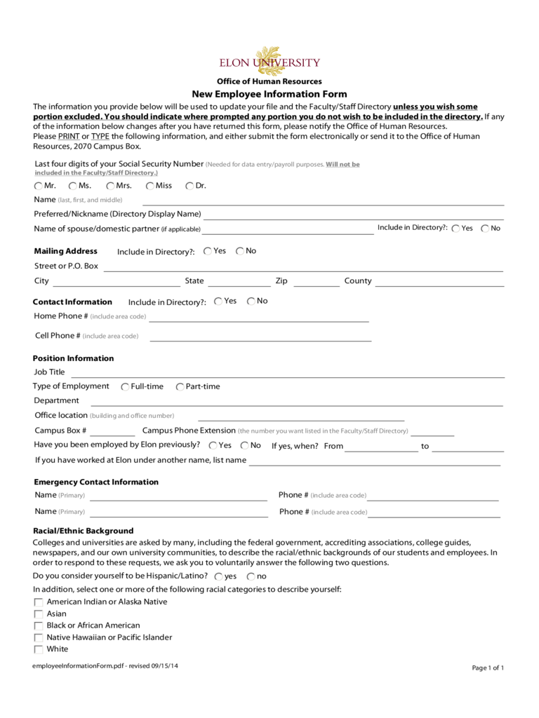 General Employee Information Form - Carolina