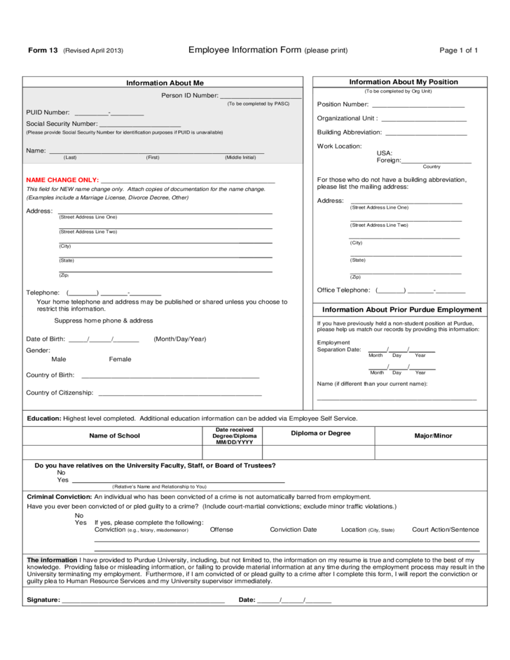 Employee Information Form Free Download