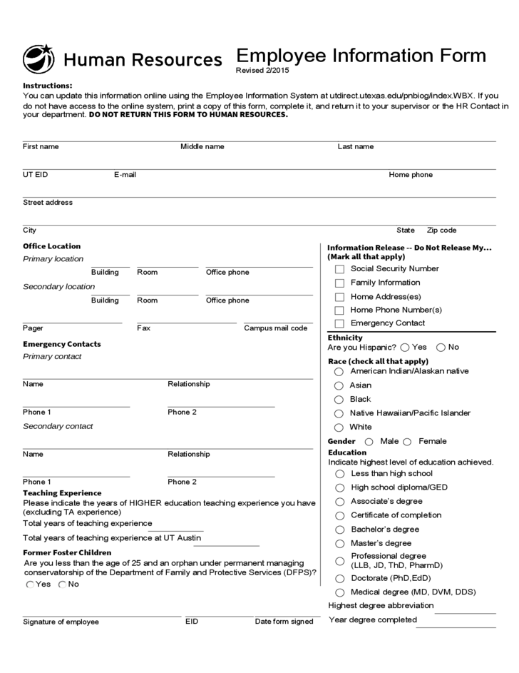General Employee Information Form - Texas Free Download