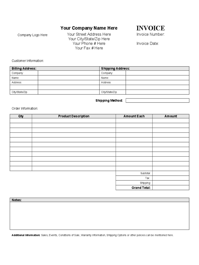 General Invoice Template Sample