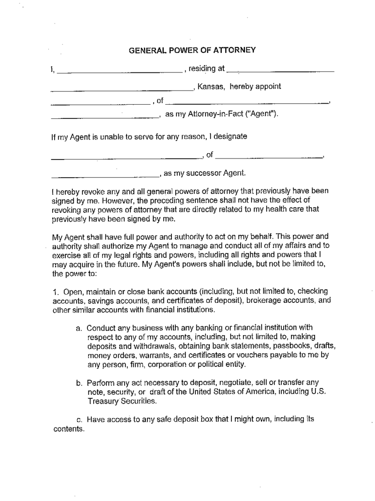 kansas power of attorney form free templates in pdf word excel to print