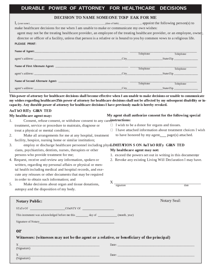 Durable power of attorney for health care example kansas free download for Power of attorney form kansas