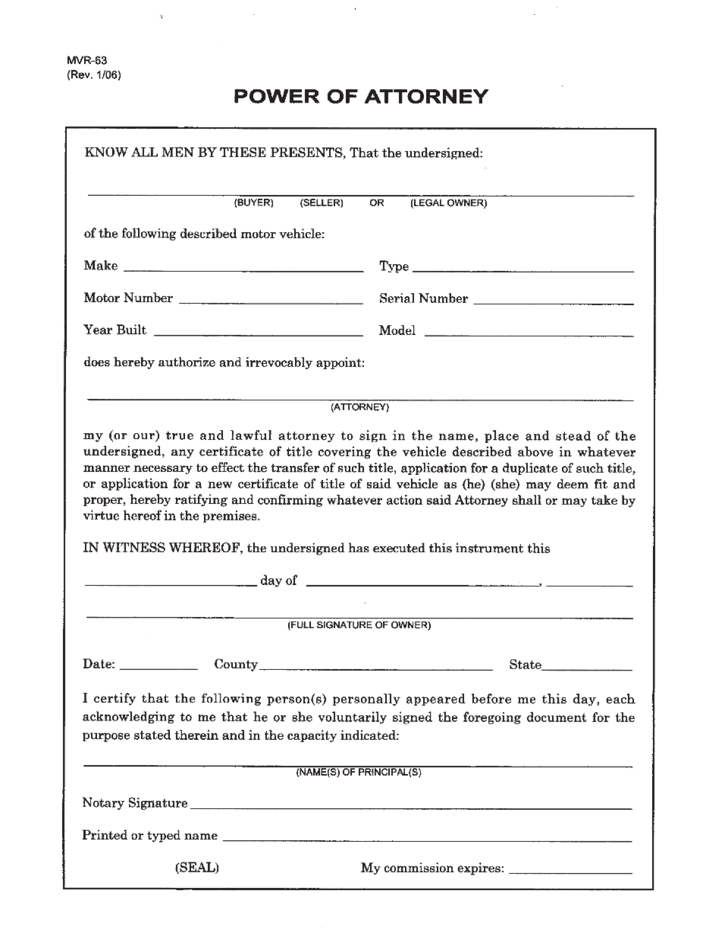 full power of attorney template - general power of attorney north carolina free download