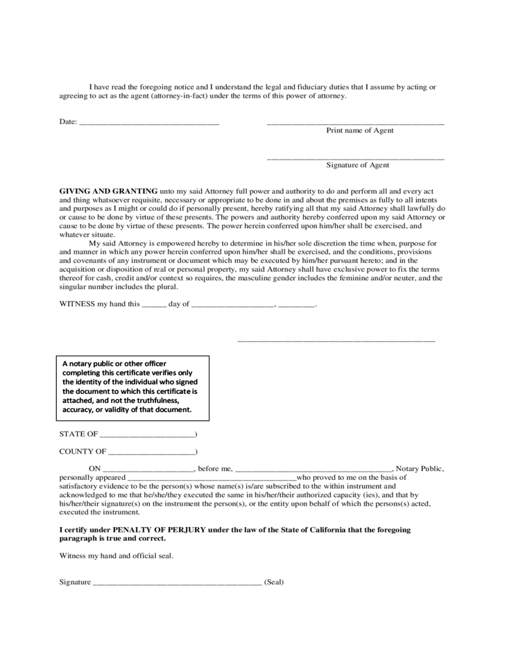 general durable power of attorney form free download