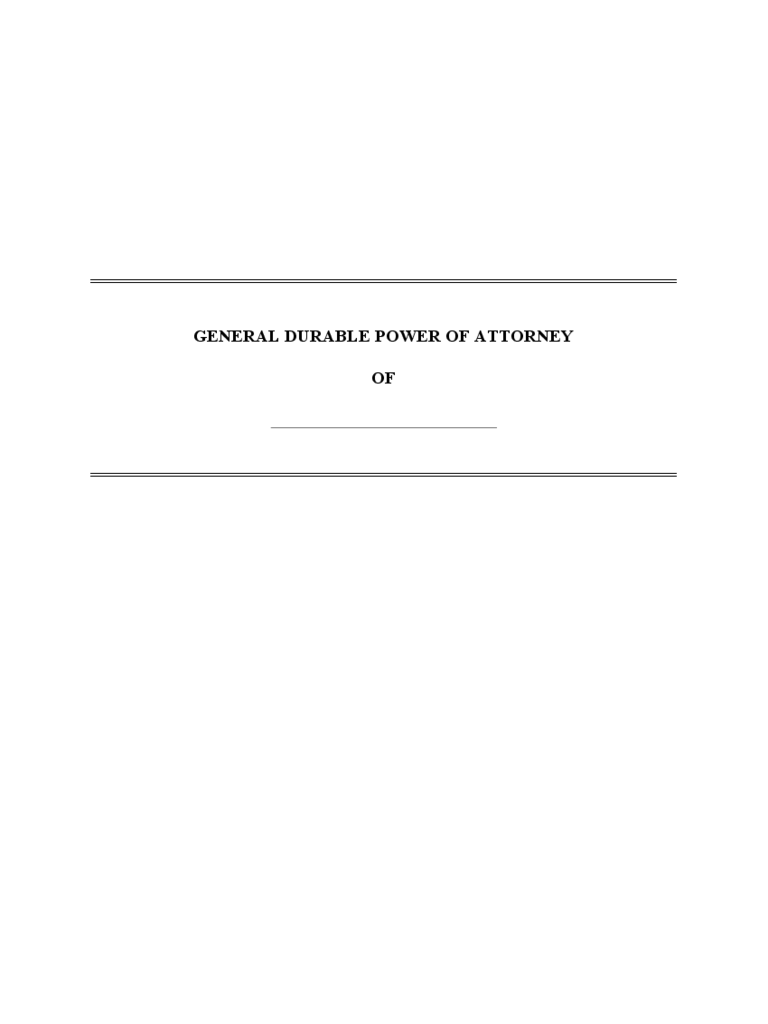 General Durable Power of Attorney Form - Michigan