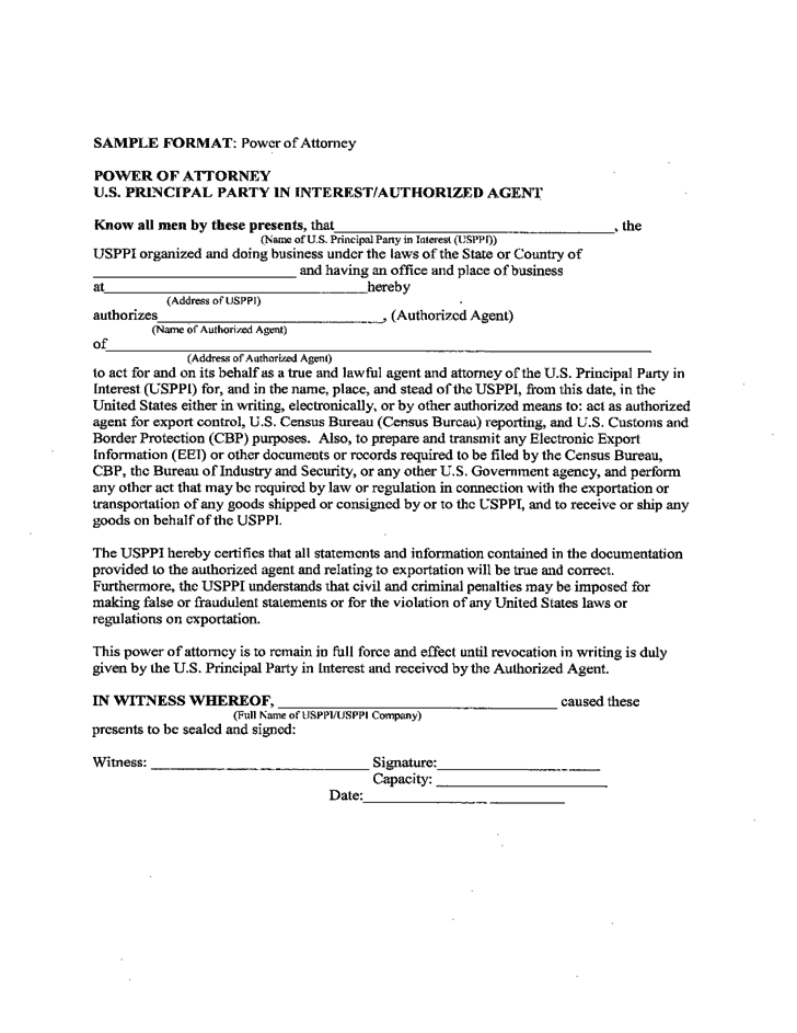 Power of Attorney - U.S. Principal Party in Interest/Authorized Agent