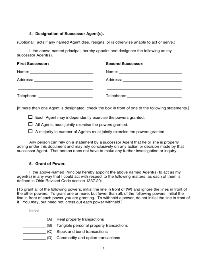 Power Of Attorney Form Ohio Free Download