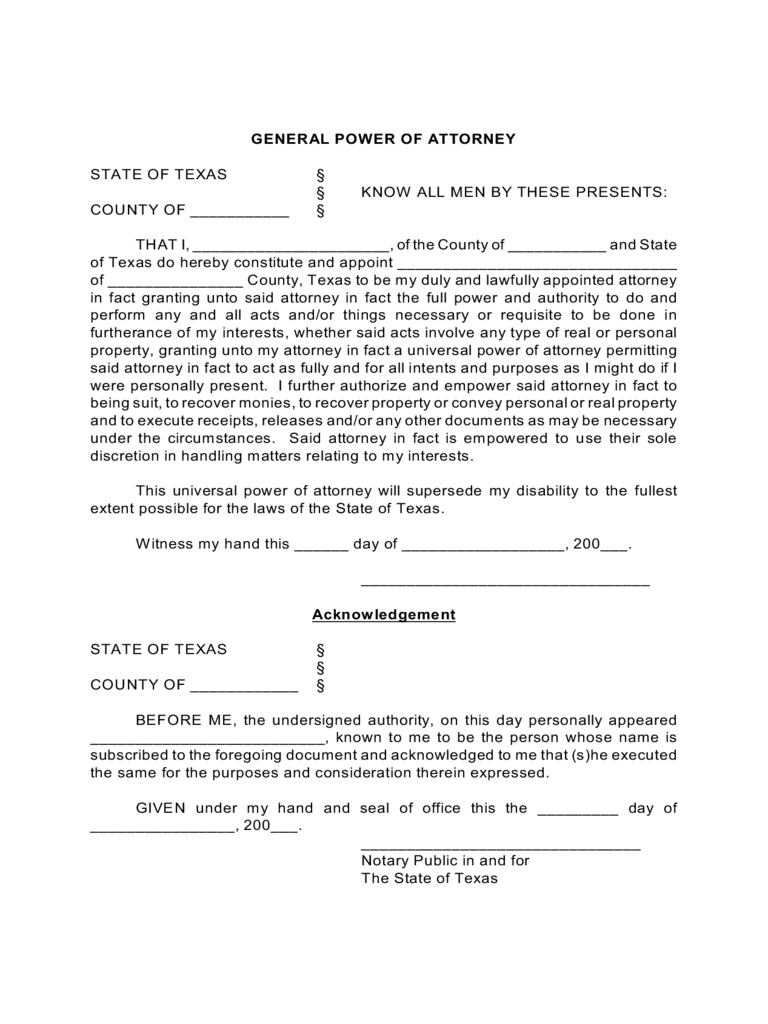 Texas Power Of Attorney Form Free Templates In Pdf Word