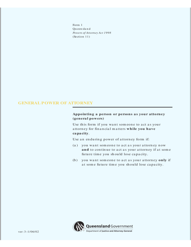 general-power-of-attorney-form-queensland-l1 General Power Of Attorney Form Queensland on template for oho, north carolina,