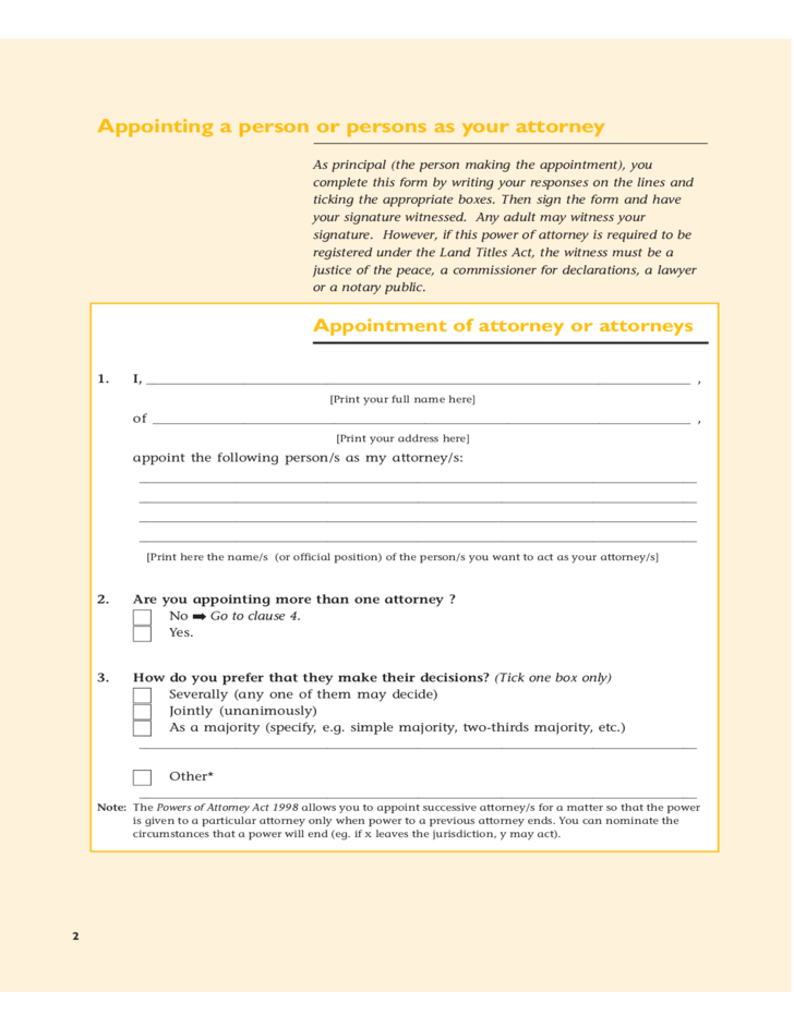 power of attorney form qld pdf  General Power of Attorney Form - Queensland Free Download