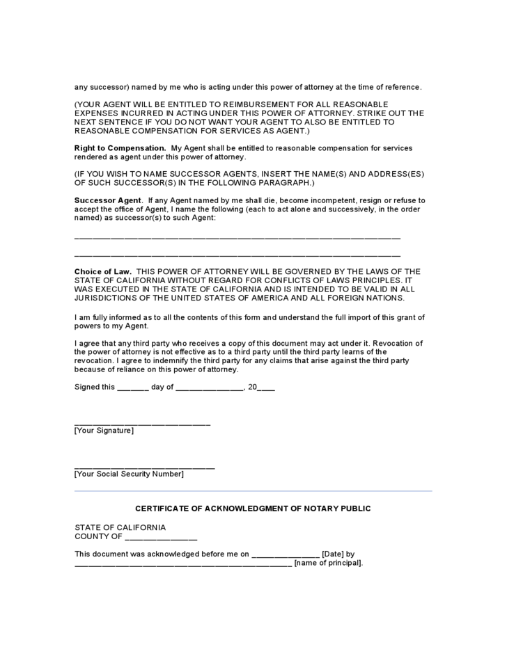 General Durable Power Of Attorney Form California Free Download