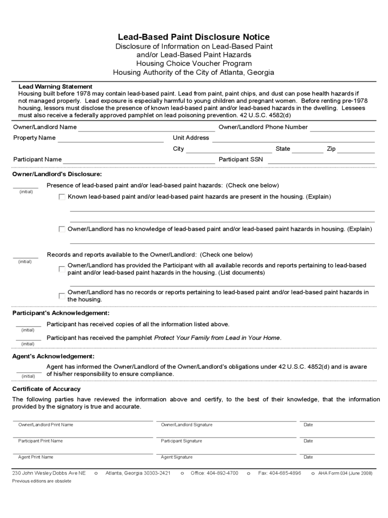 Georgia Lead Based Paint Disclosure Form