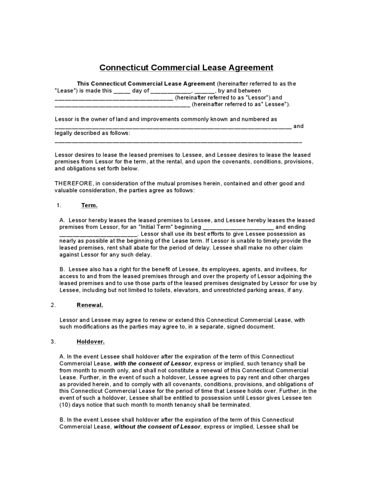 Connecticut Commercial Lease Agreement Template