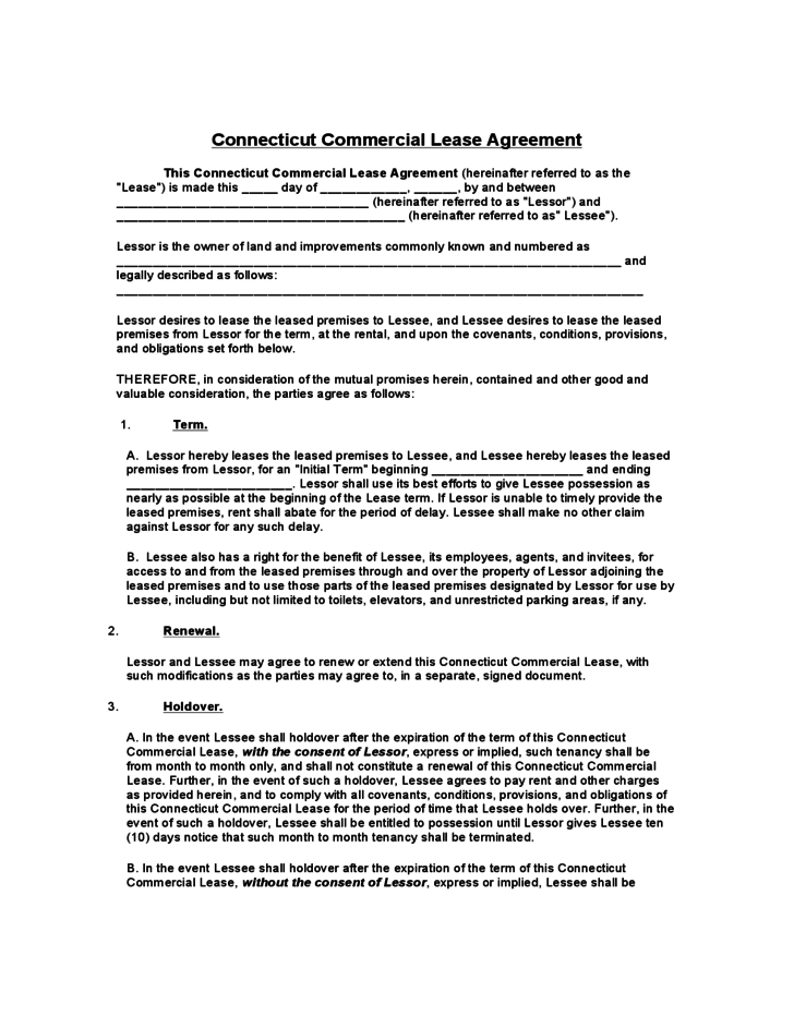 Connecticut mercial Lease Agreement Template Free Download