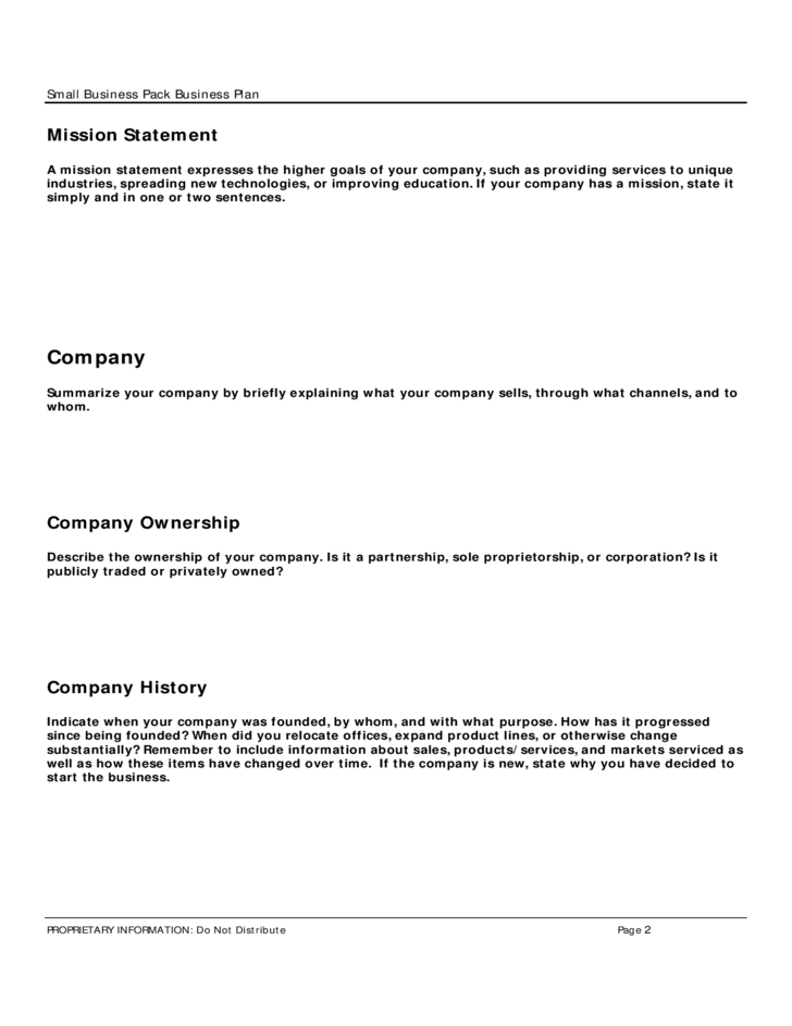 Small Business Pack Business Plan Template Free Download
