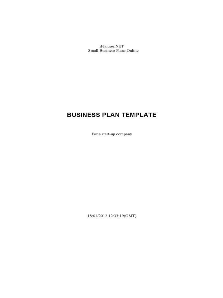 Business Plan Template for a Start-Up Company
