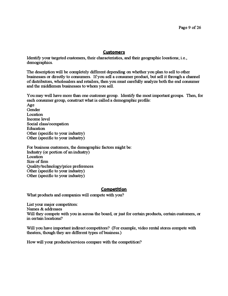Business Plan for Startup Business Free Download