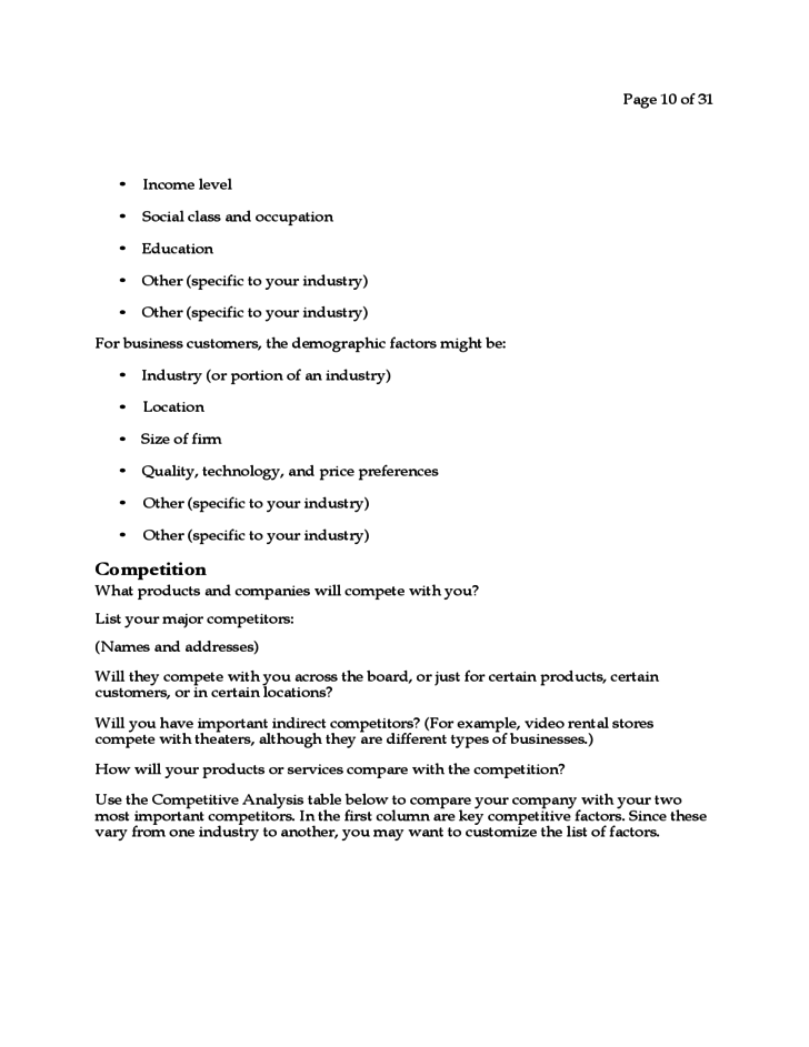 Business Plan for a Startup Business Free Download