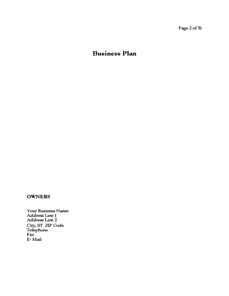 Business plan startup business free