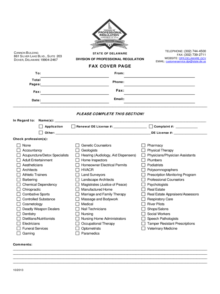 Generic Fax Cover Page - Delaware Free Download